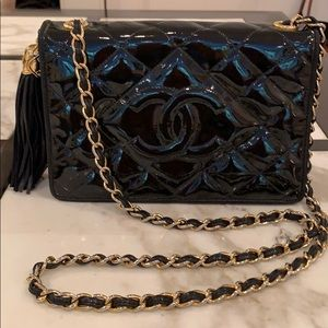 Chanel Patent Leather Quilted Flap Handbag